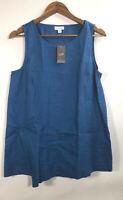 NWT J Jill Pure Jill Women's Size S Petite Linen  Sleeveless Blue Tunic Tank Top
