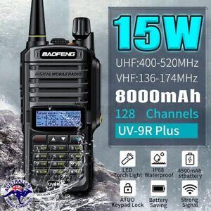 New Baofeng UV-9R Plus Long Range Walkie VHF UHF Talkie 2 Way Handheld Radio AU