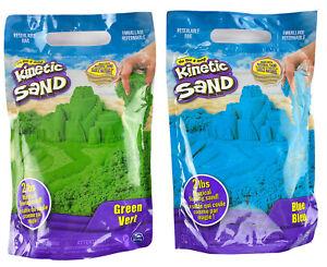 (Lot Of 2) Kinetic Sand The Original Moldable Sensory Play Sand, Green & Blue