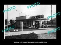 OLD LARGE HISTORIC PHOTO OF GRAFTON NSW AMPOL OIL Co SERVICE STATION c1960