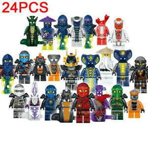 24pcs Ninjago CUSTOM Lego Mini Figures Set Zane Lloyd Kai Cole Pythor Master NEW