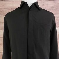 EMPORIO ARMANI LONG SLEEVE CHARCOAL BLACK HIDDEN BUTTON UP SHIRT MENS SIZE M