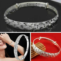 925 Silver Crystal Chain Bangle Cuff Charm Bracelet Women Fashion Jewelry Gifts