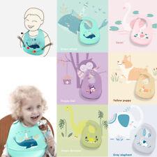 Cartoon Feeding Bibs Baby Apron Kids Burp Cloths Soft Silicone Saliva Bandana