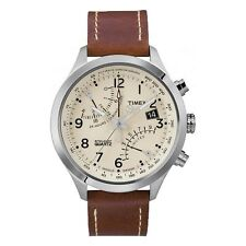 Timex Intelligent Quartz T2N932 Mens Cream Brown Fly-Back Chronograph Watch