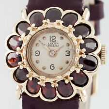 Vintage Lucien Piccard 14k Yellow Gold & Burgundy Quartz Flower Bezel Watch