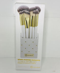BH Cosmetics White Studded Elegance 12 Piece Brush Set with Holder New