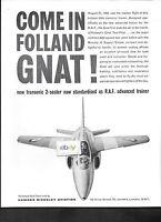 HAWKER SIDDELEY FOLLAND GNAT 2 SEATER TRANSONIC RAF AIR FORCE TRAINER 1960 AD