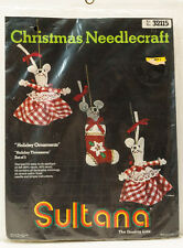 Christmas Needlecraft Sultana Kit Holiday Ornaments Threesome Mice 32115 New