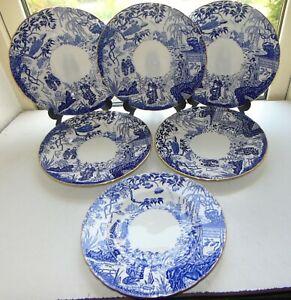 Royal Crown Derby Blue Mikado 6 x Dinner Plates 27cm Gilt Rim Date Cypher 1980s