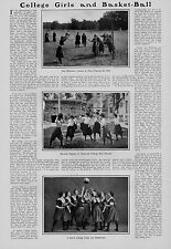 EARLY GIRL STUDENTS AND BASKETBALL 1902 NEWCOMB & SMITH COLLEGE GIRLS BASKETBALL
