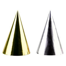 Gold & Silver Assorted Foil Cone Party Hats x 10