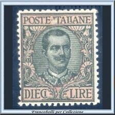 1910 Italia Regno L. 10 oliva e rosa Floreale n. 91 Centrato Nuovo Integro **