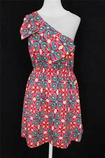 NEW Ellen & Ollie Brand 10 L Pink Green Yellow One Shoulder Bow Dress ADORABLE