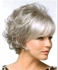 2017 new fashion lady short grey mixed curl + wig wig cap