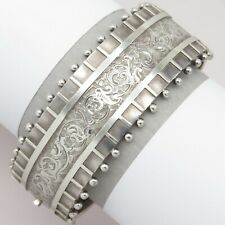 Antique Victorian Sterling Silver Etruscan Revival Etched Wide Bracelet