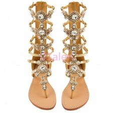 Gladiator Lady's 2018 Rhinestone Strap Flip Flop Sandals Flat Zipper Shoes boot