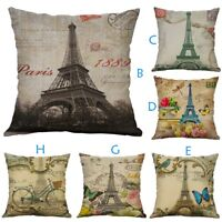 Eiffel Tower Cotton Linen Pillow Case Sofa Waist Throw Cushion Cover Home Decor
