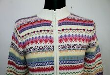 TIARA VINTAGE WOMENS CREW NECK Multicoloured Jacket Cotton ZIP CARDIGAN Size M