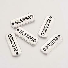 5 Word Charms Jewelry Tags Inspirational Word Pendants BEGIN Rectangle Silver