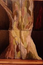 ORIGINAL LARGE ABSTRACT MODERN ACRILYC ON CANVAS PAINTING OF THE TREE 36 x 28 IN