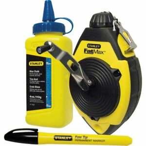 Stanley FatMax Chalk Line Kit Set 30m Blue Chalk & Marker Pen 0-47-681 STA047681