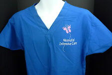 Medium Crest Neonatal Intensive Care Pull Over Scrub Top Royal Blue M
