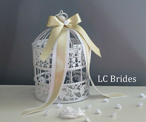White Bird Cage Card Holder, Advice Card Holder, Wedding Well Wishes, Shower