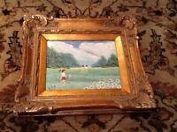 Appealing J. Polk Enamel On Copper Framed Painting Art  Landscape With Children