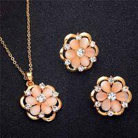 New Woman Gold Plated Cubic Zirconia Opal Jewelry Sets Flower Pendant Earrings