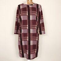Tu Jumper Dress 10 Burgundy Check Tartan Plaid Pockets Straight Stretch Casual