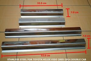TOYOTA HILUX VIGO 2005-2014 DOUBLE CAB STAINLESS STEEL SCUFF PLATE STEP DOORS