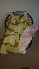 Baby car seat canopy cover - green & pink elegant pattern