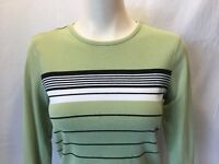 IZOD Women's Black White Striped Green Long Sleeve Top Shirt Size Small
