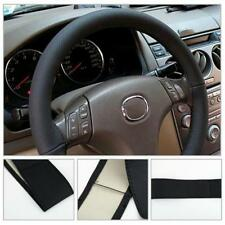 Car Truck PU Leather Steering Wheel Cover With Needles and Thread DIY Black F MT