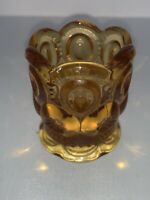 Vintage L. E. SMITH Moon And Stars AMBER Gold Glass Votive Toothpick Holder