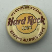 "Vintage Hard Rock Cafe No Drugs Or Nuclear Weapons 1-1/2"" Button Pin Pinback  Q9"