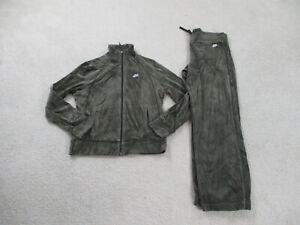 VINTAGE Nike Jacket Womens Medium Green Velour Track Suit Pants Ladies 90s