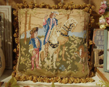 "14"" Renaissance Antique Handmade Needlepoint Pillow Tapestry Nobles Horses"