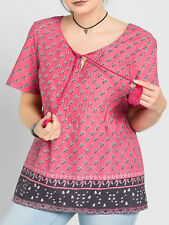 Sheego PINK Pure Cotton Tie Neck Border Print Top Tunic Blouse Plus Size 16 - 32