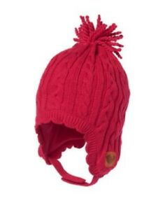 GYMBOREE COZY CABIN RED CABLE SWEATER TRAPPER HAT 0 3 NWT