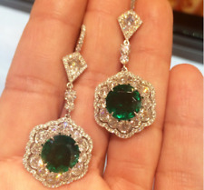 5.40Ct Round Cut Green Emerald Pretty Drop-Dangle Earrings 18K White Gold Finish