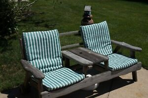 Green White Stripe Dining Patio Seat Cushion Set of 4 Outdoor Waterproof Fabric