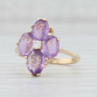 2.75ctw Amethyst Flower Cluster Ring 14k Yellow Gold Size 6.25 Diamond Accent