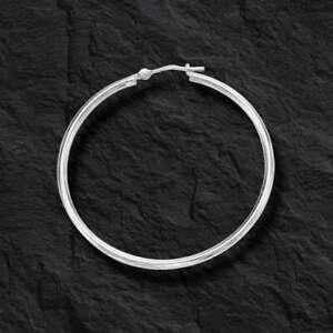 Fashion 14k White Gold 2.0mm x 40mm Round Shiny Runway Tube Hoop Earrings