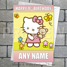 Hello Kitty personalised birthday card. 5x7 inches.