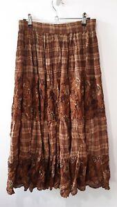 Vintage Boho Brown Checked Indian Hippie Midi Skirt Size 8/10 Gypsy Prairie