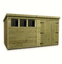 WOODEN GARDEN SHED 10X8 12X8 14X8 PRESSURE TREATED TONGUE AND GROOVE PENT SHED