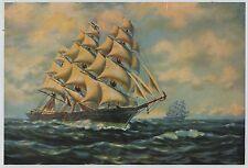 Vintage 1930s-40s Print Masted Ocean Vessel Ship Clipper James Bains
