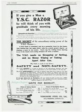Yorkshire Steel Company YSC Safety Razor & Non-Safety 1912 Advertisement Ad B392